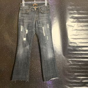 Arden B- Black Distressed Jeans with Raw Hem 8